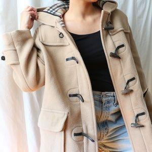 Women's Burberry Toggle Duffle Tan Coat Medium